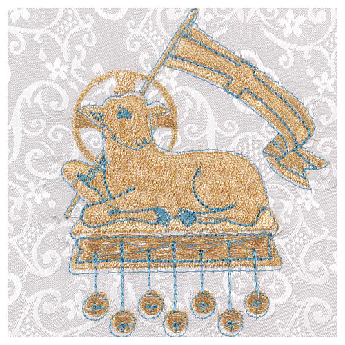 White damask fabric chalice pall with lamb of God embroidery 2