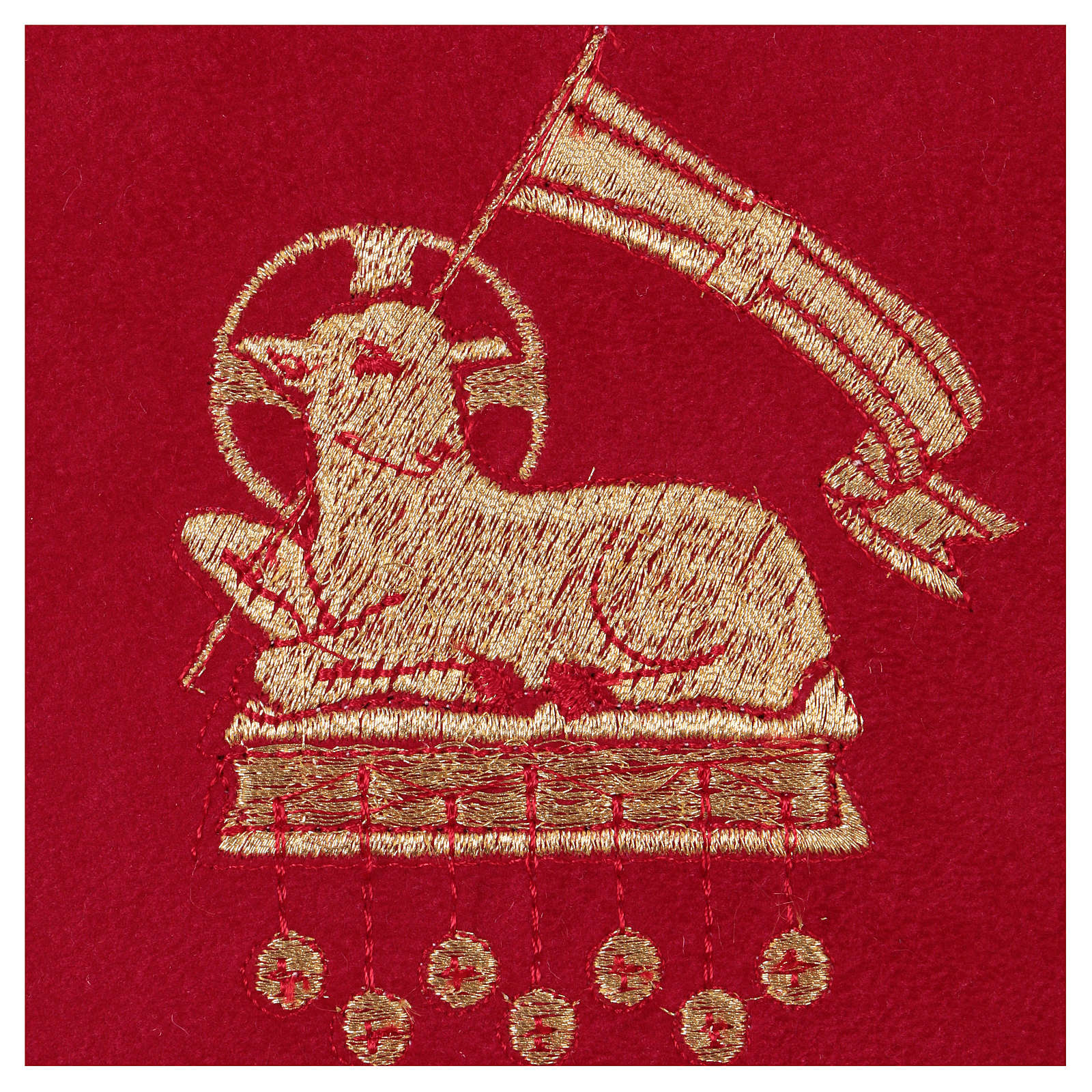 Chalice veil (pall) with lamb embroidery on red fabric 4