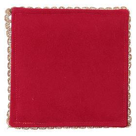 Copricalice rigido con agnello su tessuto fioccato rosso s3