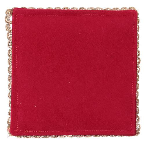 Copricalice rigido con agnello su tessuto fioccato rosso 3