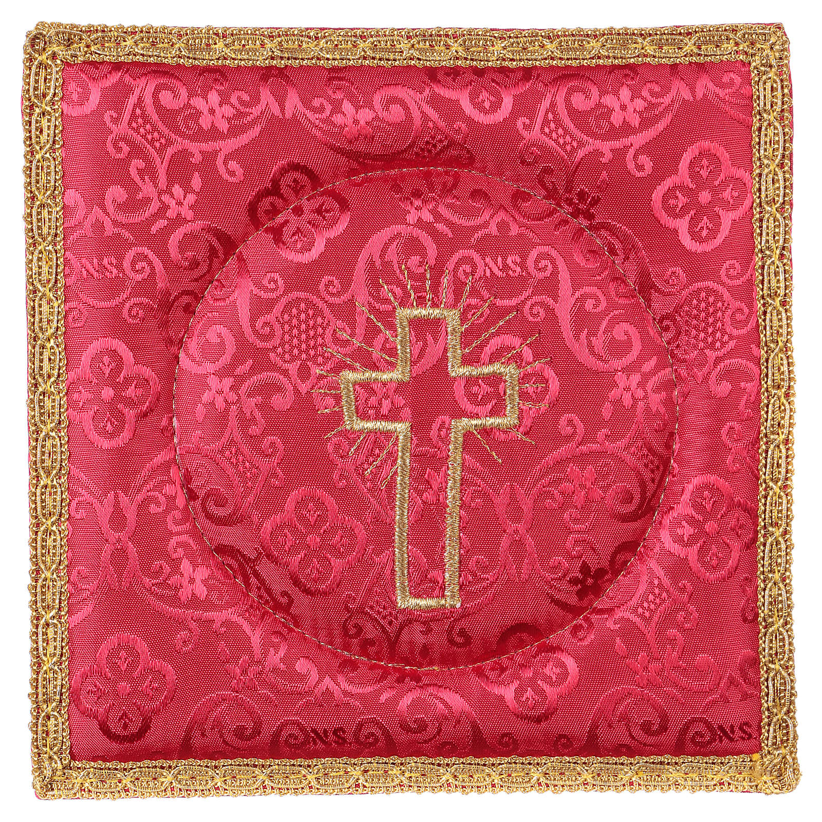 Chalice veil (pall) with cross embroidery on red damask fabric 4