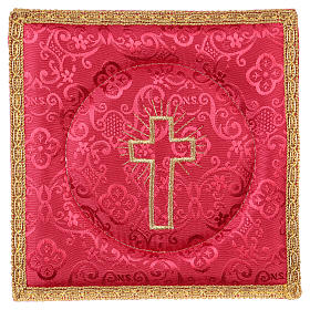 Chalice veil (pall) with cross embroidery on red damask fabric s1