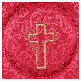Chalice veil (pall) with cross embroidery on red damask fabric s2