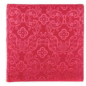 Chalice veil (pall) with cross embroidery on red damask fabric s3