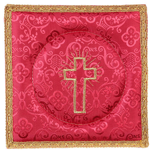 Chalice veil (pall) with cross embroidery on red damask fabric 1