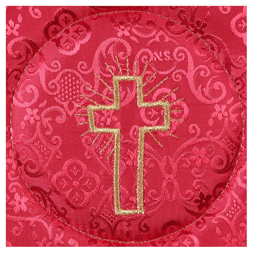Chalice veil (pall) with cross embroidery on red damask fabric 2