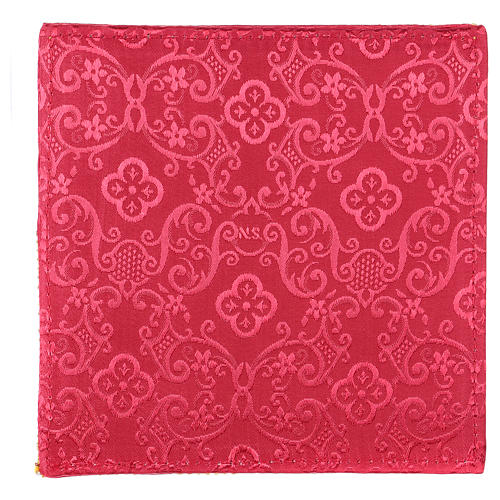 Chalice veil (pall) with cross embroidery on red damask fabric 3