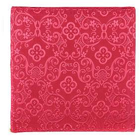 Copricalice rigido croce ricamata su damascato rosso s3