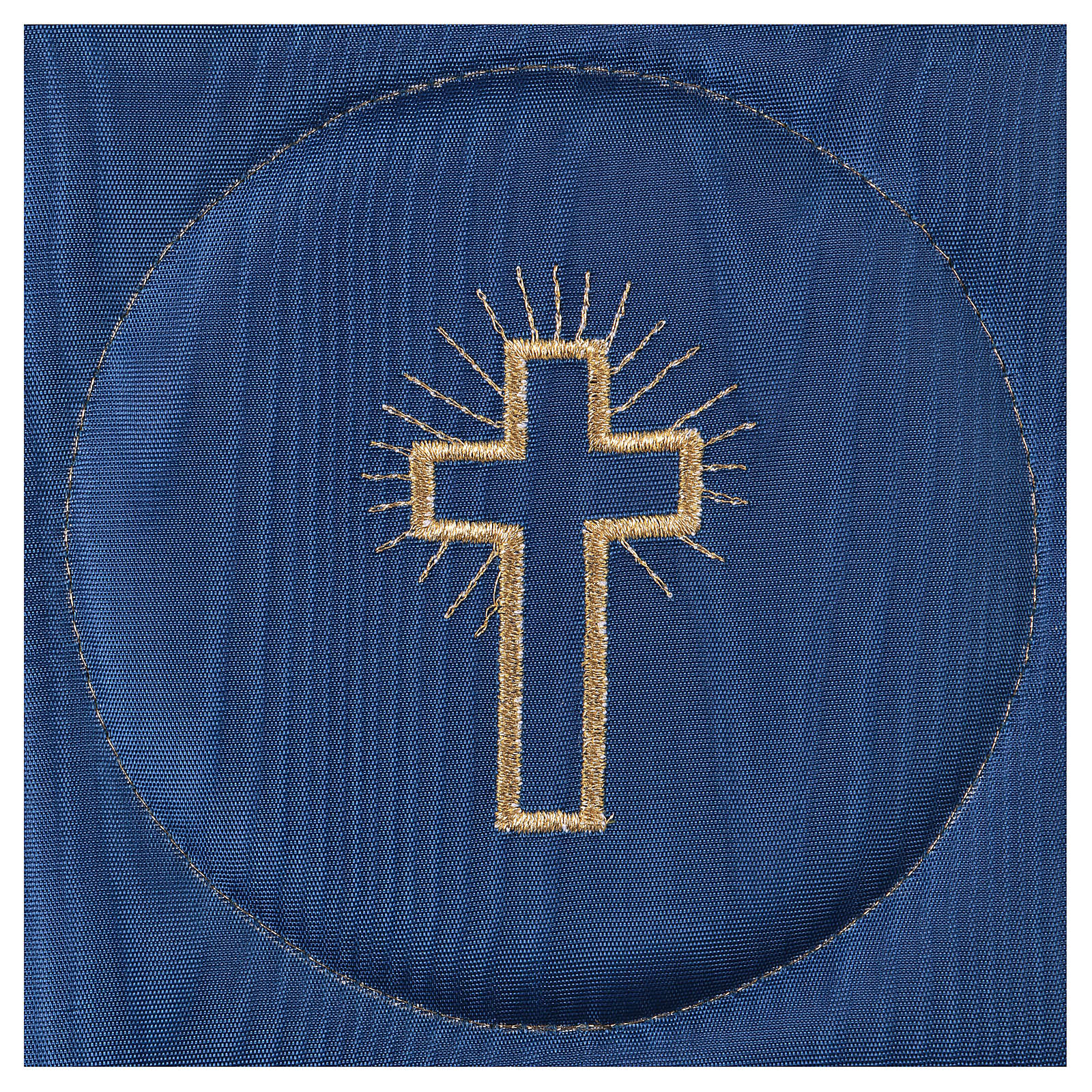 Chalice veil (pall) with cross embroidery on blue satin 4