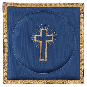 Chalice veil (pall) with cross embroidery on blue satin s1