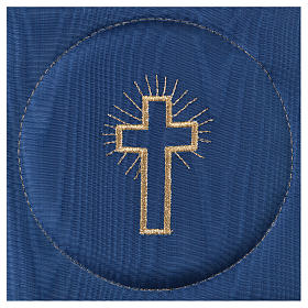 Chalice veil (pall) with cross embroidery on blue satin s2