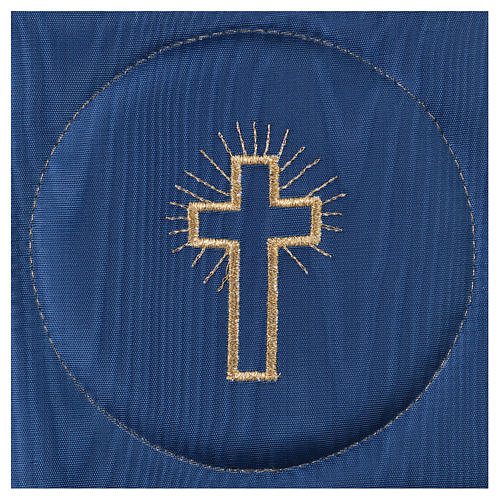 Chalice veil (pall) with cross embroidery on blue satin 2