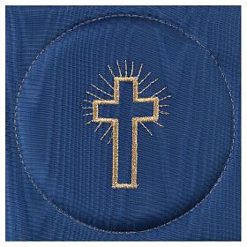 Pale pour calice satin bleu avec croix s2