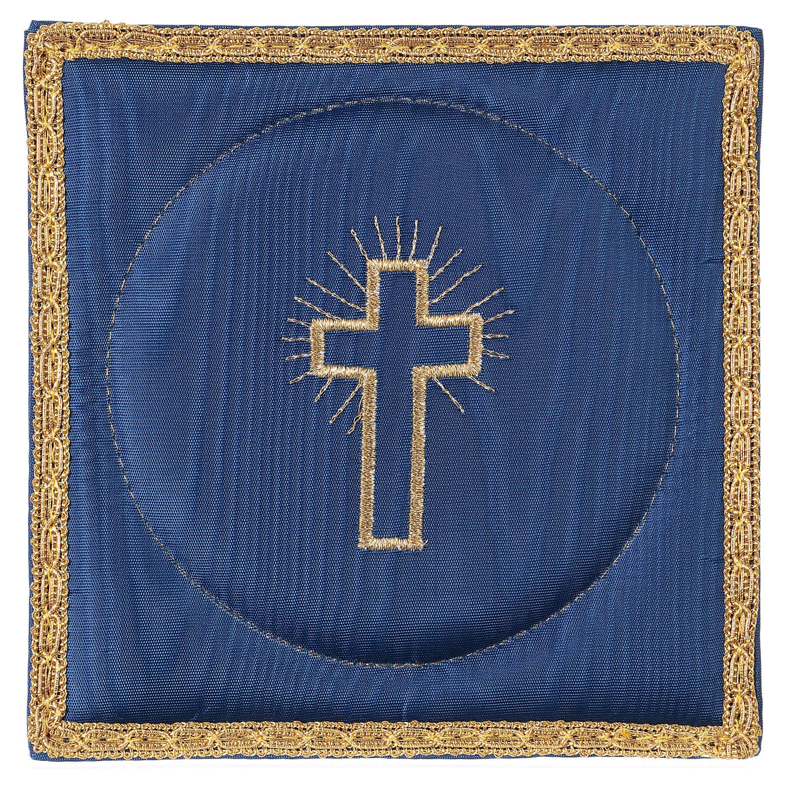 Palla copricalice raso blu con croce 4