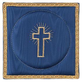 Palla copricalice raso blu con croce s1