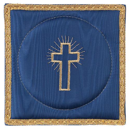Palla copricalice raso blu con croce 1