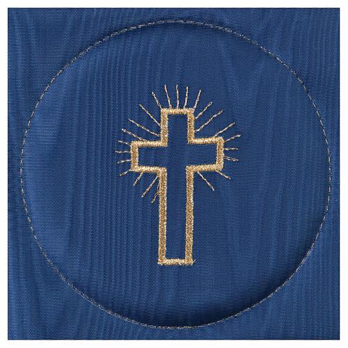 Palla copricalice raso blu con croce 2