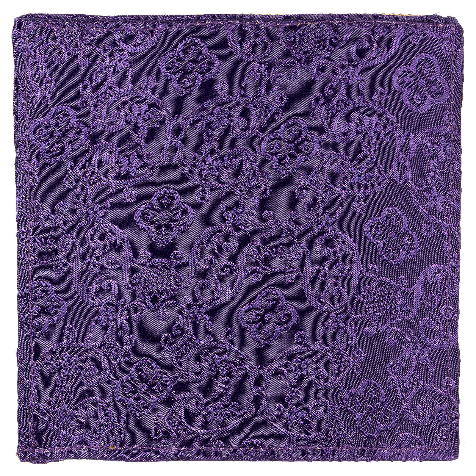 Chalice veil (pall) with cross embroidery on purple damask fabric 4