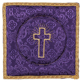 Chalice veil (pall) with cross embroidery on purple damask fabric s1