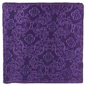 Chalice veil (pall) with cross embroidery on purple damask fabric s3