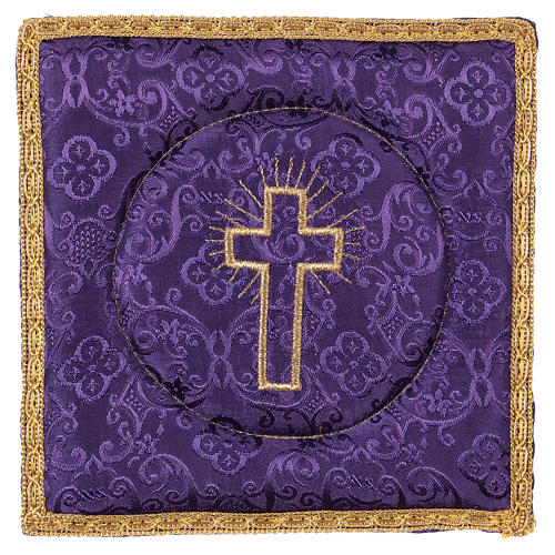 Chalice veil (pall) with cross embroidery on purple damask fabric 1