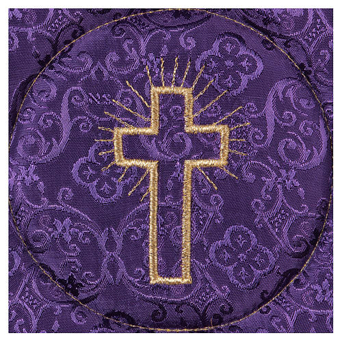 Chalice veil (pall) with cross embroidery on purple damask fabric 2