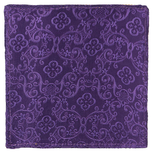 Chalice veil (pall) with cross embroidery on purple damask fabric 3
