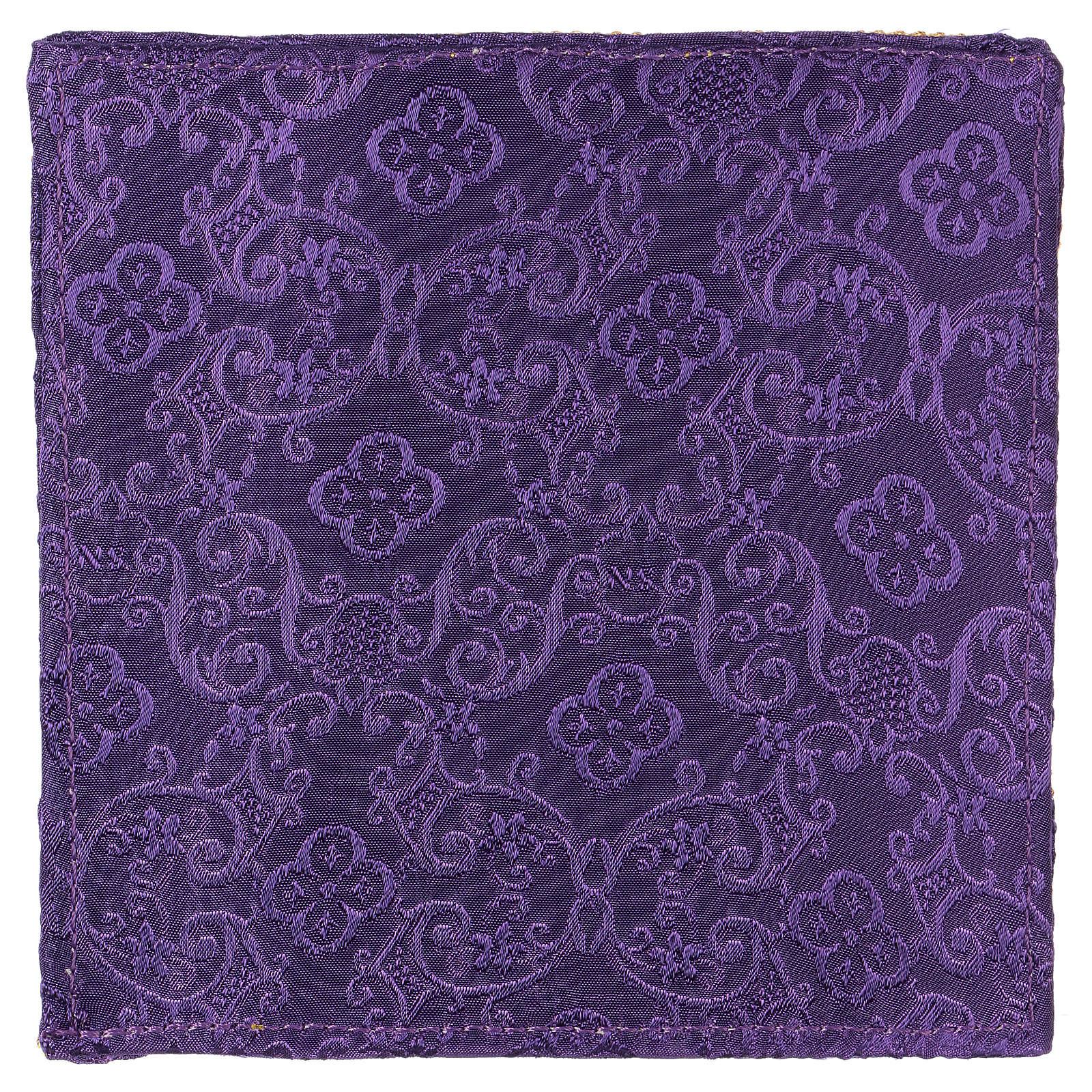 Palia rígida cubre cáliz cruz bordada en adamascado violeta 4