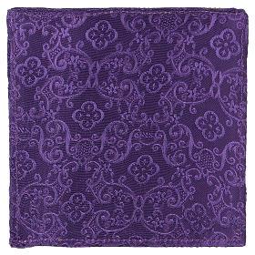 Palia rígida cubre cáliz cruz bordada en adamascado violeta s3