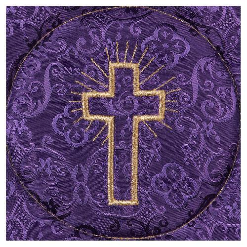 Palia rígida cubre cáliz cruz bordada en adamascado violeta 2