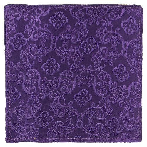 Palia rígida cubre cáliz cruz bordada en adamascado violeta 3