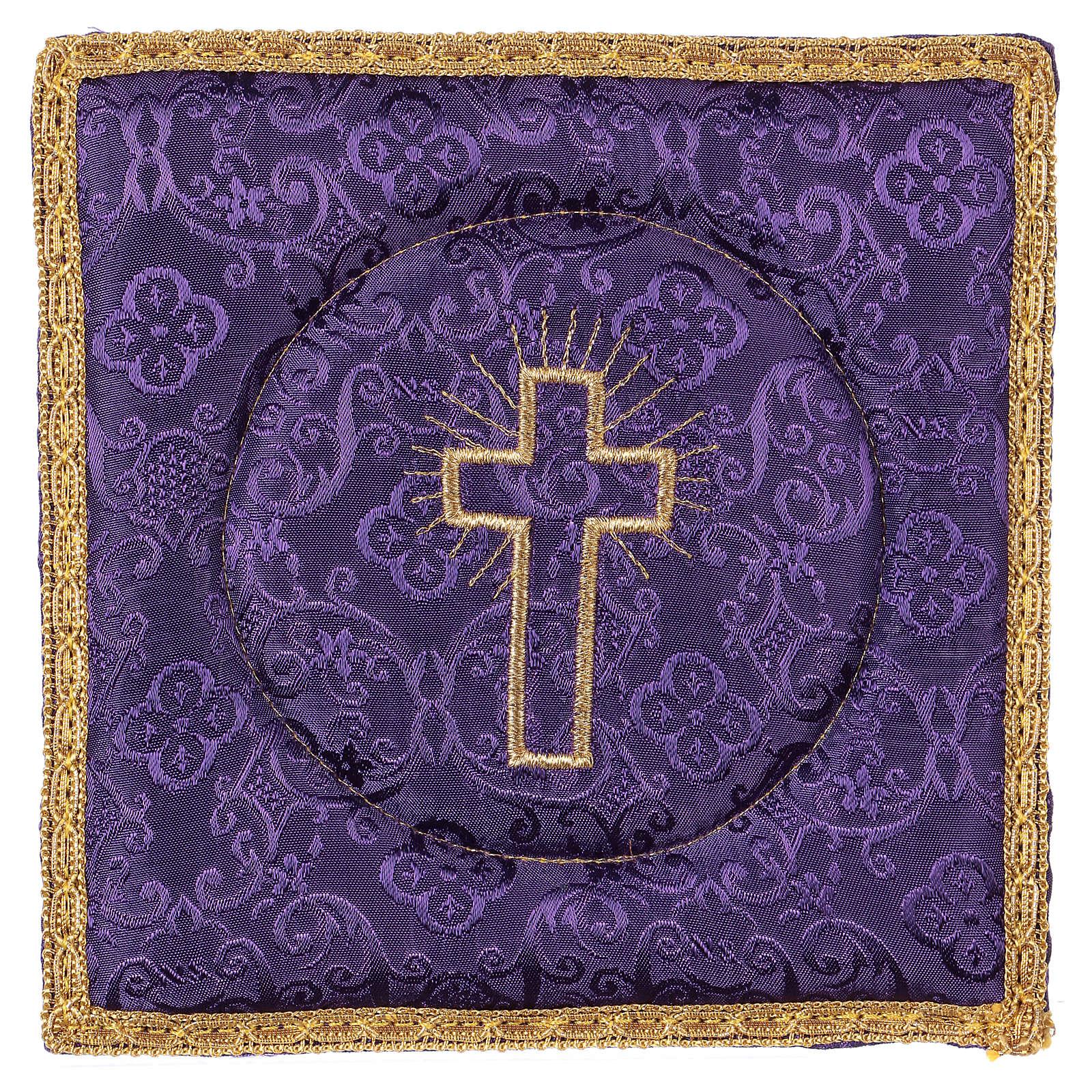 Palla rigida copricalice croce ricamata su damascato viola 4