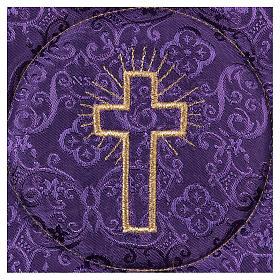 Palla rigida copricalice croce ricamata su damascato viola s2