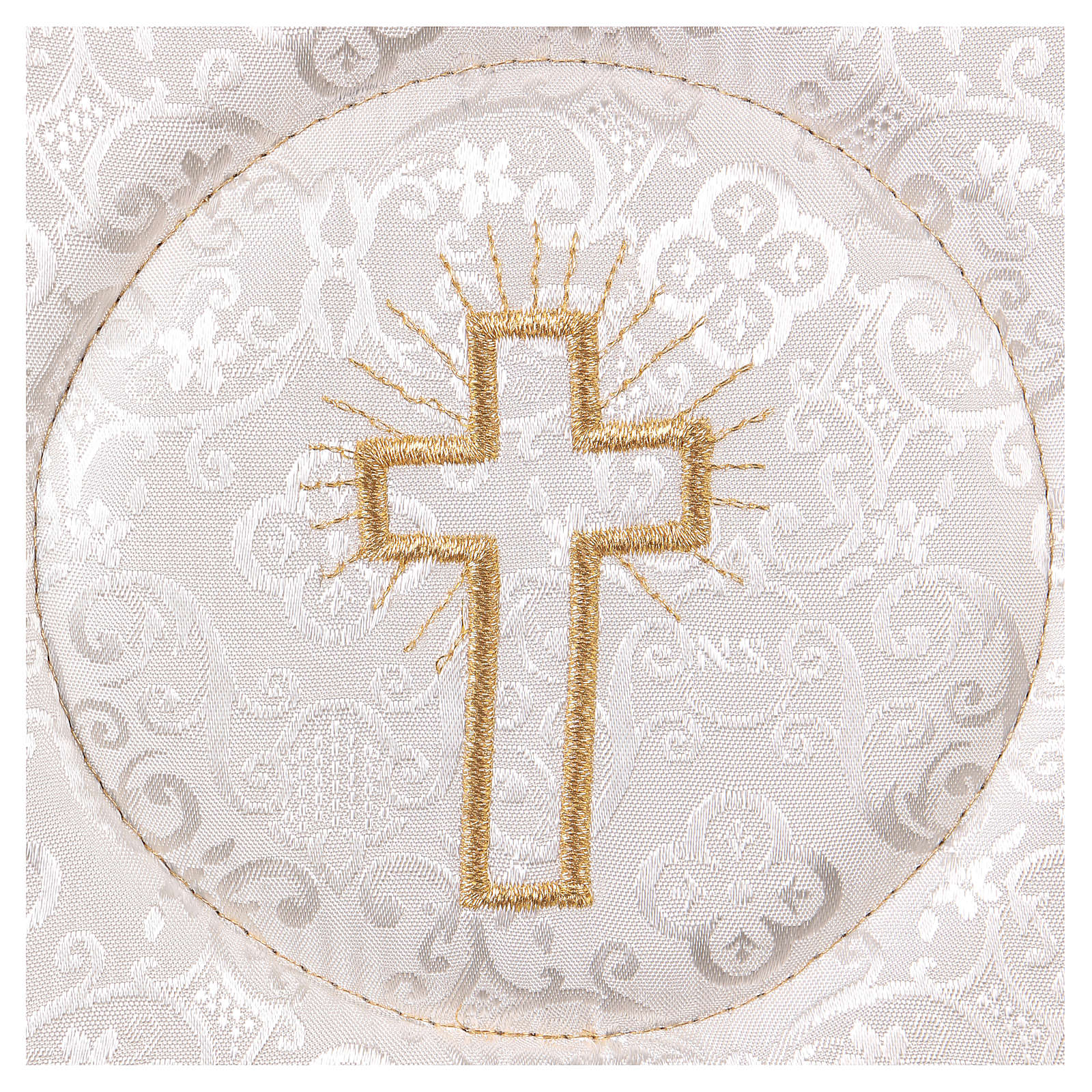 Chalice veil (pall) with cross embroidery on white damask fabric 4