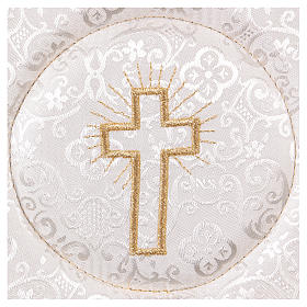 Chalice veil (pall) with cross embroidery on white damask fabric s2