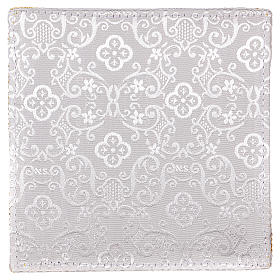 Chalice veil (pall) with cross embroidery on white damask fabric s3