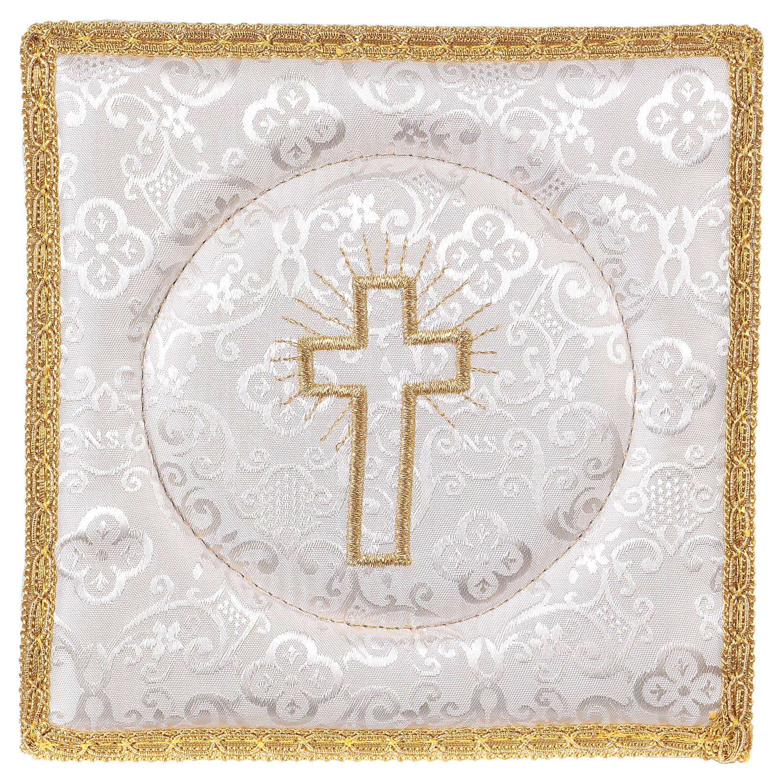Palia cubre cáliz rígida cruz bordada en adamascado blanco 4