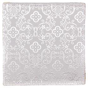 Pale pour calice rigide croix brodée sur damassé blanc s3