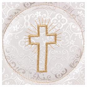 Palla copricalice rigida croce ricamata su damascato bianco s2