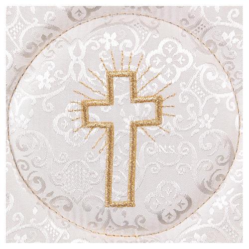 Palla copricalice rigida croce ricamata su damascato bianco 2