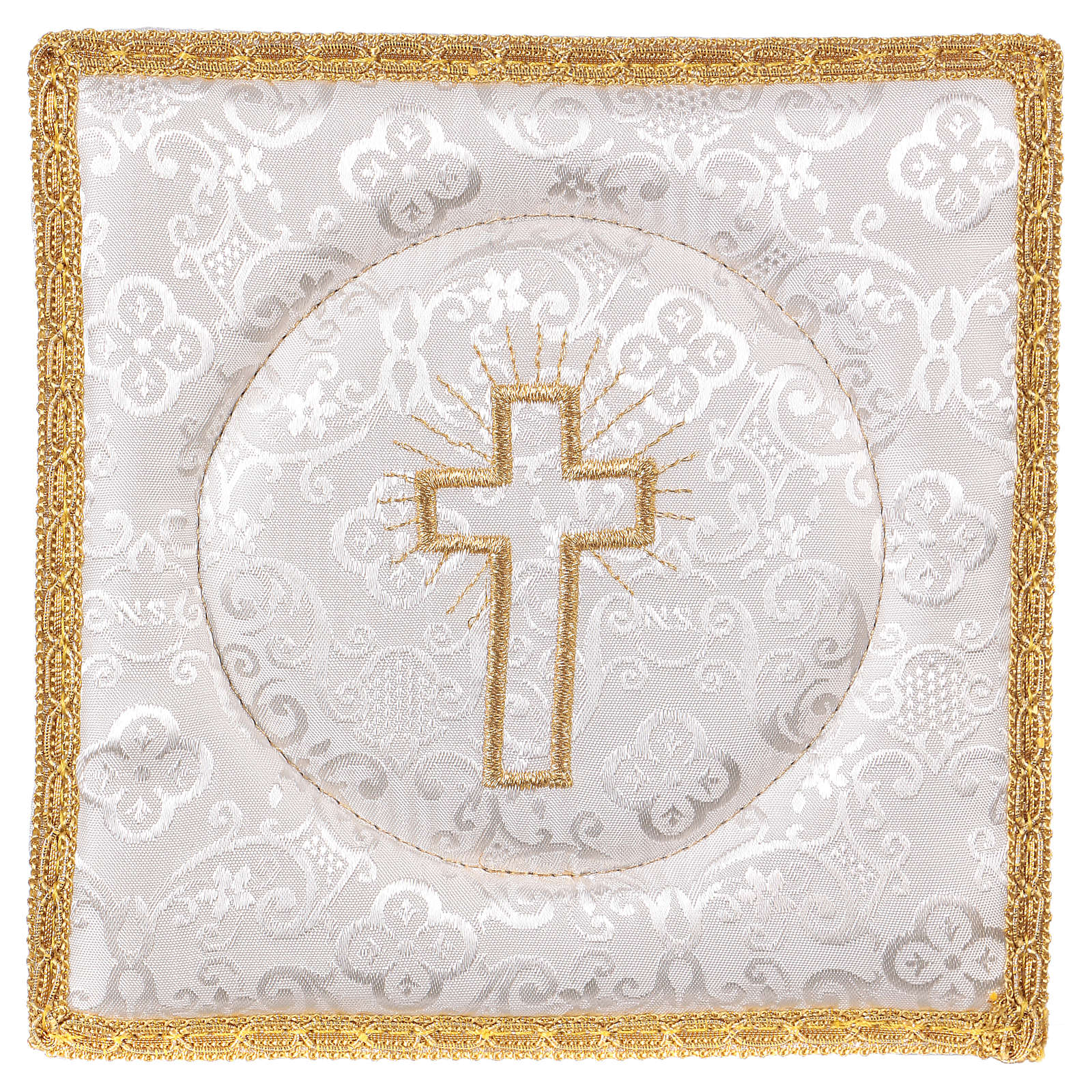 Chalice pall with cross embroidery, white damask 4