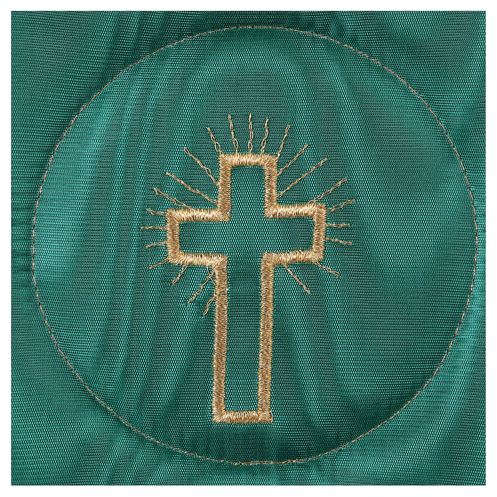 Chalice veil (pall) with cross embroidery on green brocade 4