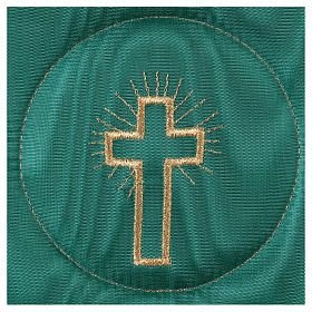 Chalice veil (pall) with cross embroidery on green brocade s2