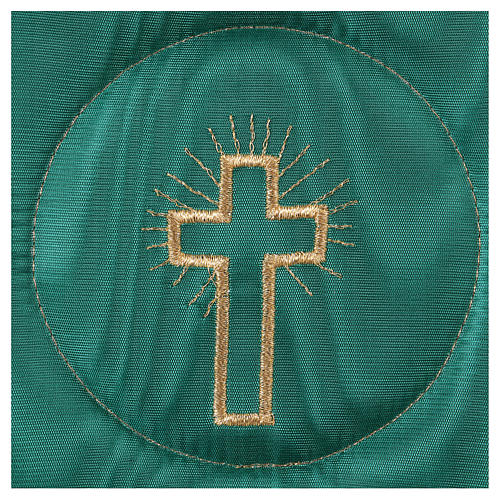 Chalice veil (pall) with cross embroidery on green brocade 2