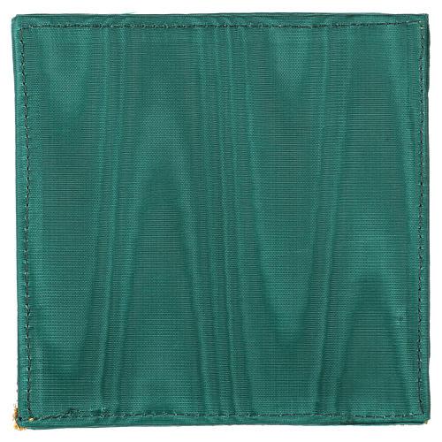 Cubre cáliz con cruz en raso verde 3
