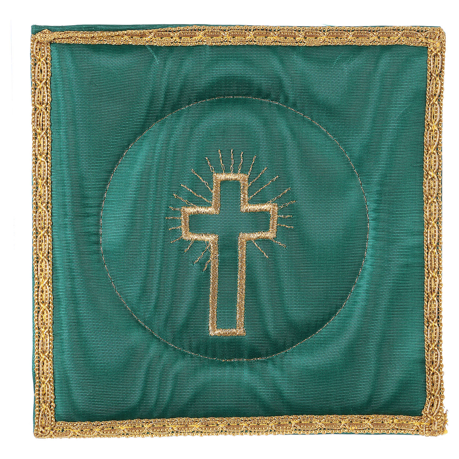 Chalice pall with cross embroidery, red satin 4