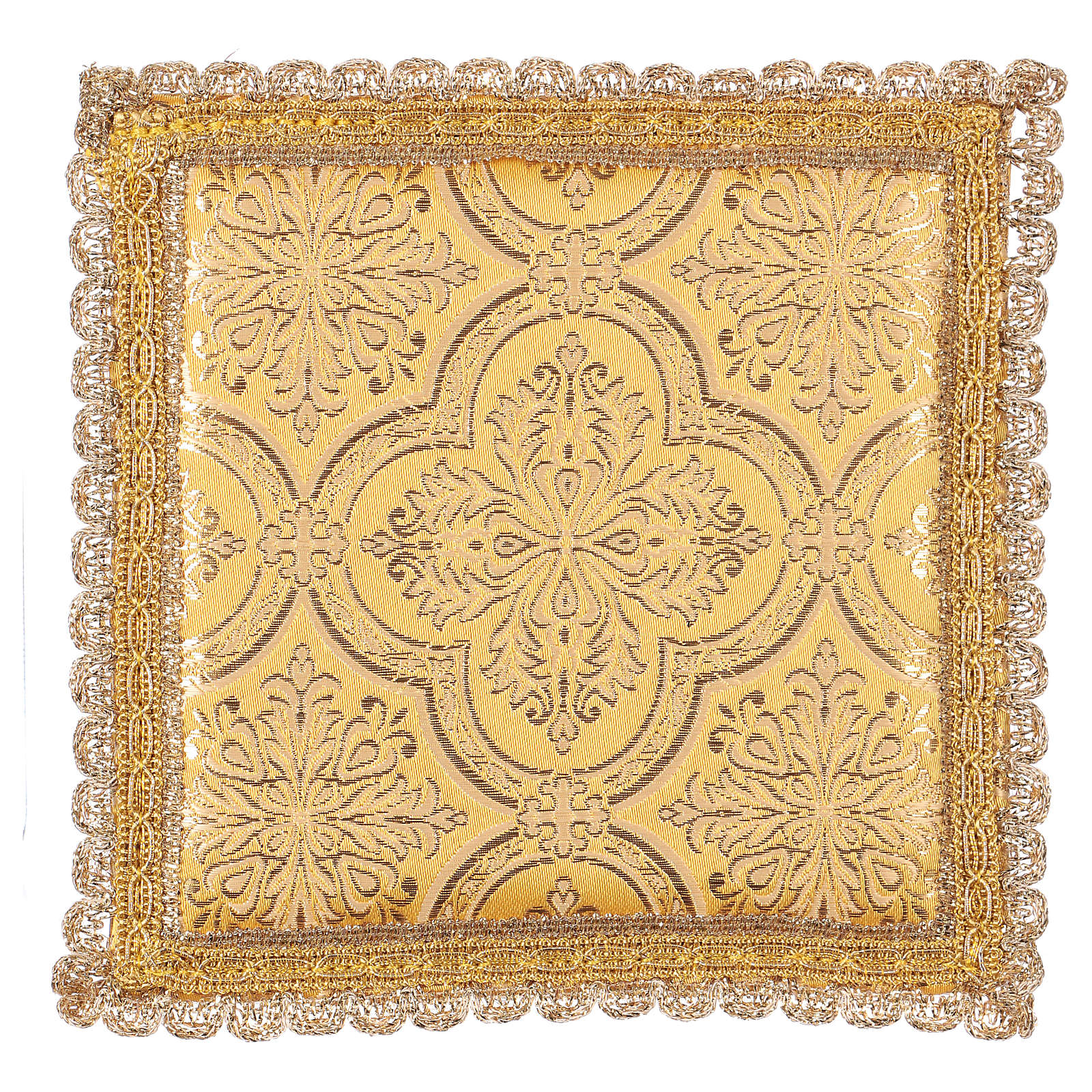 Chalice veil (pall) with cross embroidery on yellow brocade 4