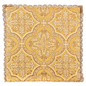 Chalice veil (pall) with cross embroidery on yellow brocade s2