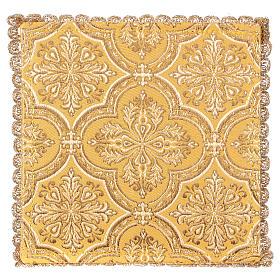 Pale pour calice motif croix sur tissu brocart jaune s2