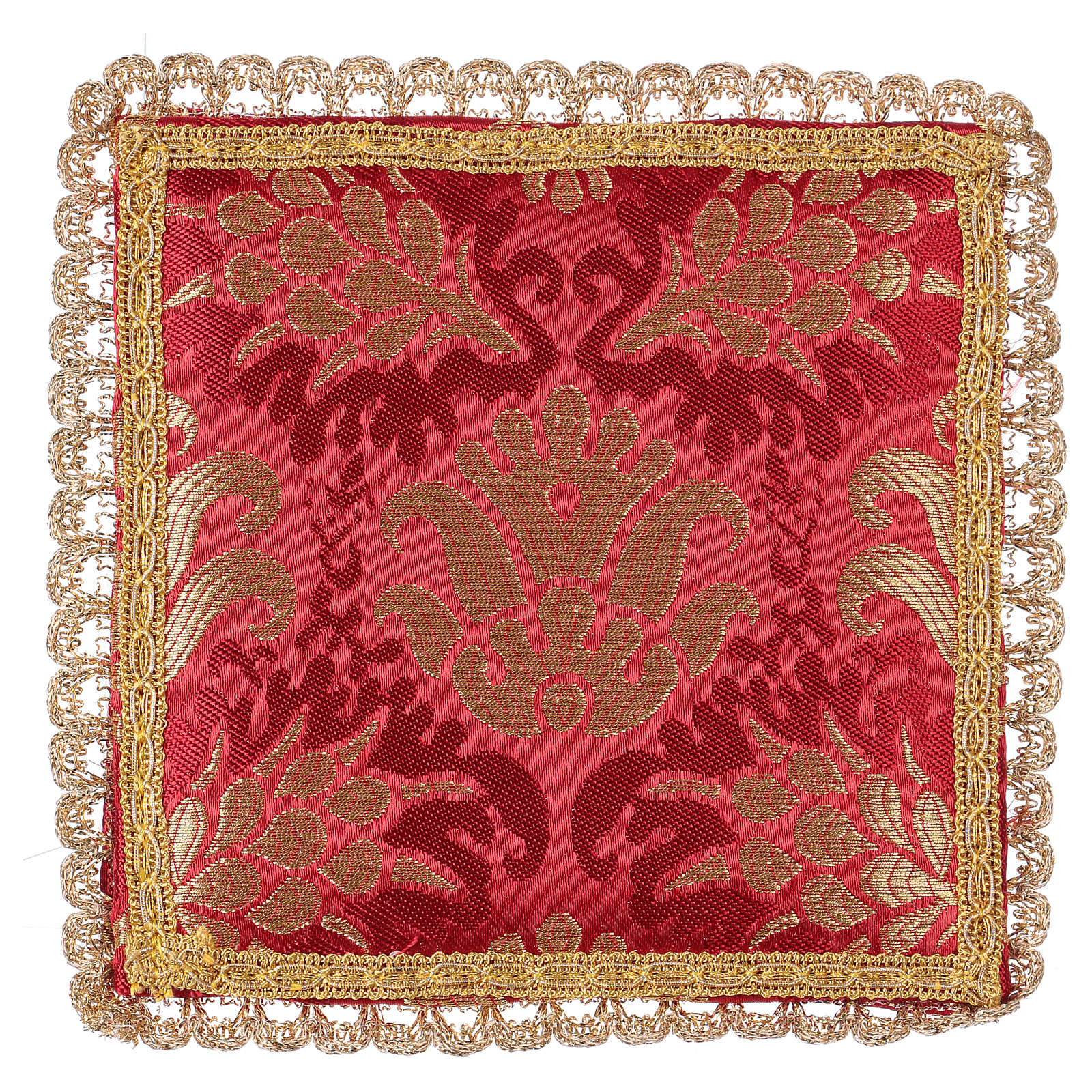 Chalice veil (pall) with wheat embroidery on red brocade 4